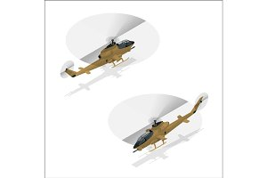 Isometric Military helicopter
