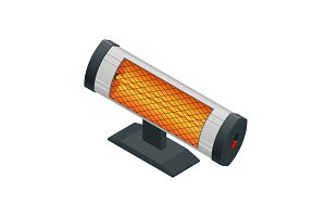 Isometric Halogen or Infrared heater. Home Heating appliances