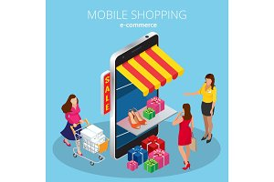 Mobile shopping e-commerce online store flat 3d isometric infographic concept
