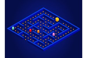 Pacman game with ghosts, maze and user interface. Video game Vector illustration