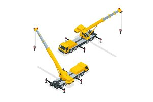 Isometric crane, heavy equipment and machinery