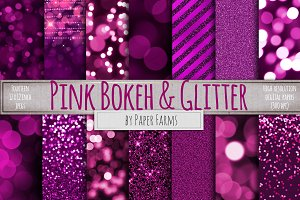 Pink glitter and bokeh digital paper