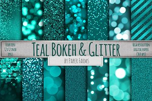 Teal glitter and bokeh