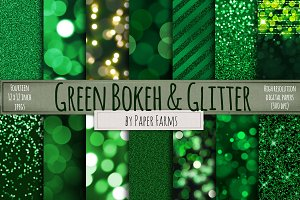 Green Bokeh and Glitter