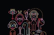 Neon lights art composition