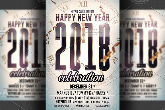 new year psd flyer template flyer templates creative market