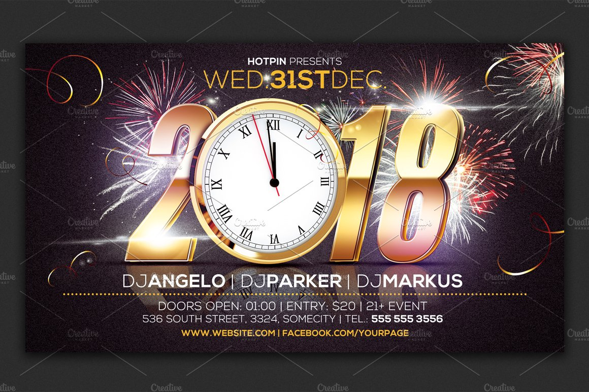 2019 new years flyer template flyer templates creative market