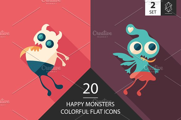 Monsters Flat Square Icon Set 2