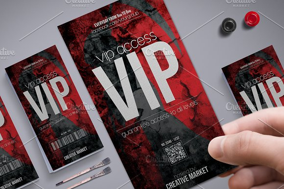 Horror Style Vip Pass Template Card Templates Creative Market – Vip Ticket Template