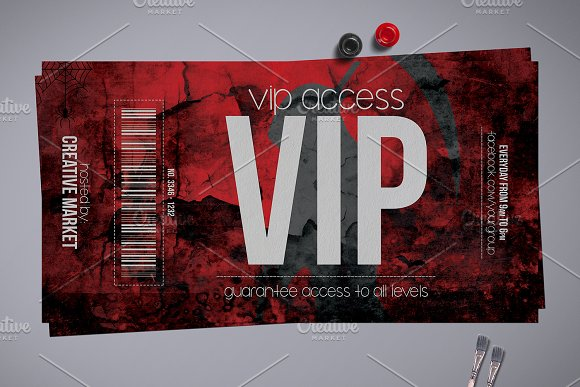 Horror Style Vip Pass Template