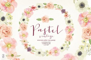 Watercolor pastel wreath juliet rose