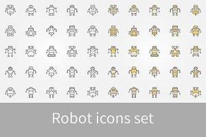 Robot icons set