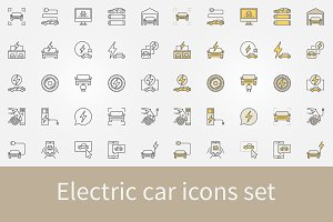 Electric car icons set