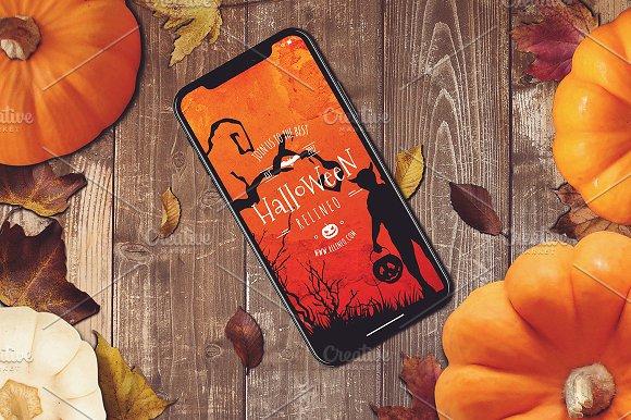 Halloween iPhone X Mock-up #17 in Mobile & Web Mockups