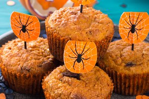 Pumpkin muffins for Halloween kids party