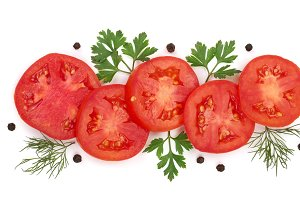 tomato slice with parsley leaves, dill and peppercorns isolated on white background. Top view
