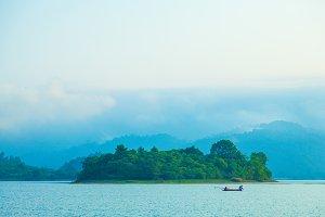 Fishing lake and small island.