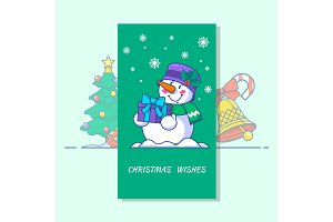 Snowman line vector icon. Vector illustration of Christmas badges and symbols. such as Snowman, Christmas bells, Christmas tree