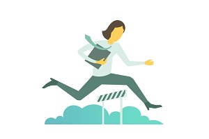Businesswoman jumps overcoming the barrier Business obstacles concept with a folder