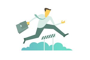 Businessman run jumps overcoming the barrier Business obstacles concept with briefcase