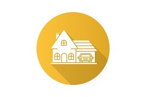 Cottage flat design long shadow glyph icon