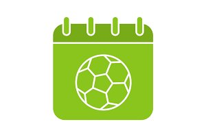Soccer championship date glyph color icon