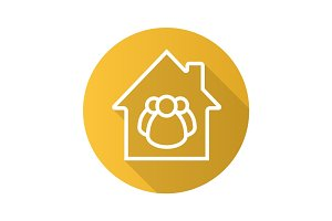 Family house flat linear long shadow icon