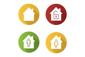 Houses flat design long shadow glyph icons set