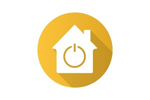 Smart house flat design long shadow glyph icon