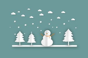 winter landscape with  snowmen
