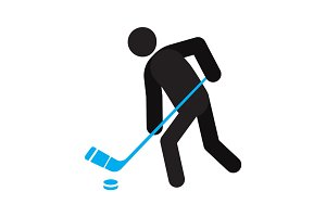 Man playing hockey silhouette icon