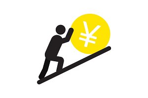 Man pushing yen sign up silhouette icon