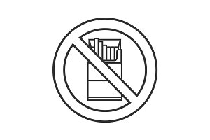 Forbidden sign with pack of cigarettes linear icon