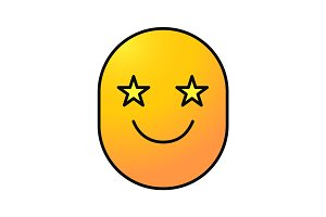 Smile with eyes like stars color icon