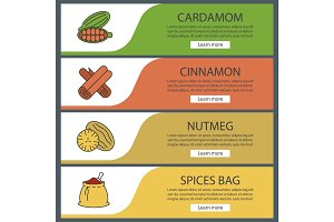 Spices web banner templates set