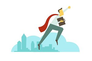 Superhero man businessman flies over the city. Success and victory. In red cloak with briefcase. Vector illustration.