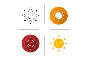 Winking sun smile icon