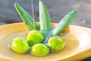 Olives on oil