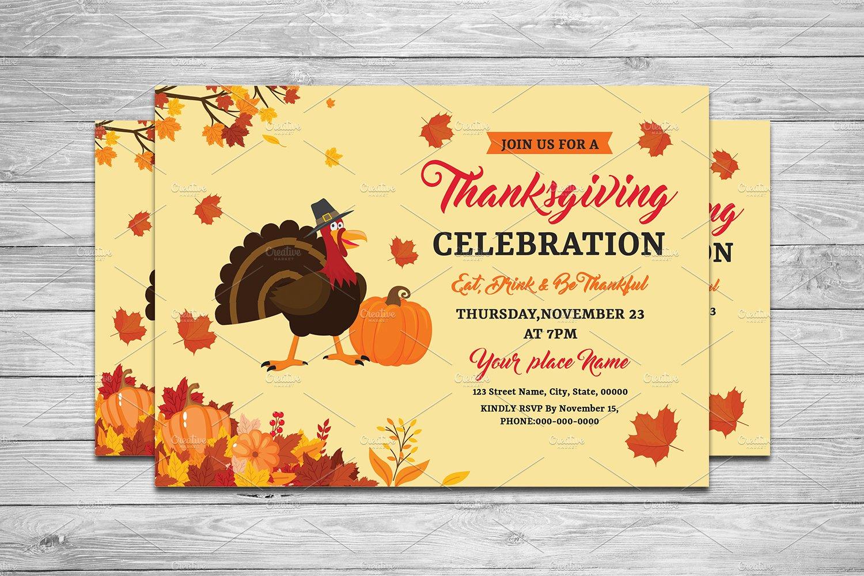 Thanksgiving invitation v644 flyer templates creative market for Thanksgiving invite template