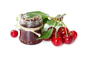 Cherry jam in glass jar