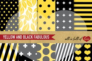 Yellow and Black Scrapbook Patterns