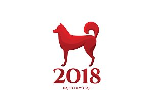 2018 Chinese new year of dog greeting card