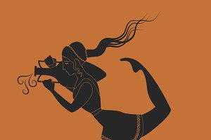Girl from ancient Greece. Silhouette