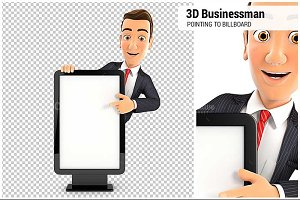 3D Businessman Pointing to Billboard
