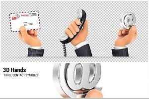 3D Hands Holding Contact Symbols