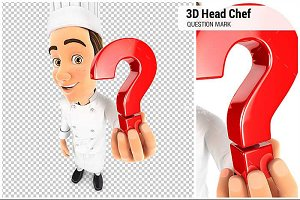 3D Head Chef Question Mark Icon