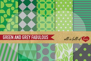 Printable Patterns Green & Grey