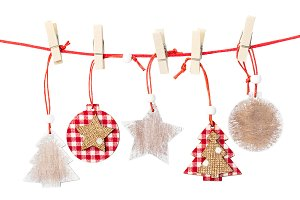 Christmas wooden decorations hanging