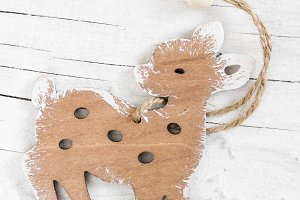 Decorative wooden small deer