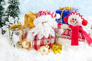 Christmas toy snowman with gifts